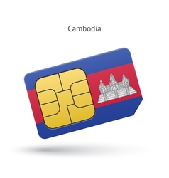 Cambodia mobile phone sim card with flag vector
