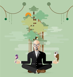 old business man making yoga in nature vector image
