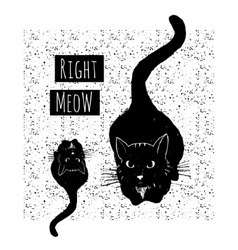 hand drawn card with cute black cats on seamless vector image