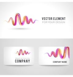 Business card template set abstract pink wave vector