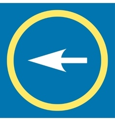 Sharp left arrow flat yellow and white colors vector