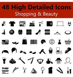 Shopping and beauty smooth icons vector