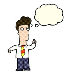 Cartoon bored man asking question with thought vector