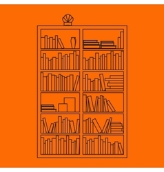 Bookshelf outline with books in vector