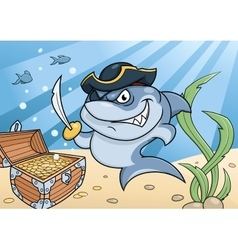 Shark pirate and treasure chest vector