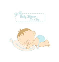 baby shower card with pretty boy sleeping vector image vector image