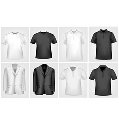 black and white jakets and shirts vector image