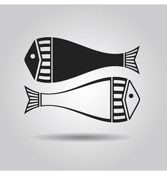 Black silhouette and line pair of fish vector