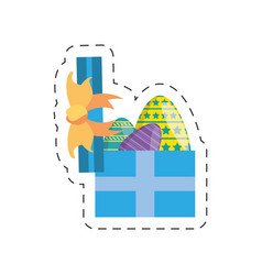 Blue gift box with easter eggs vector