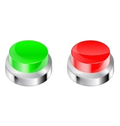 Buttons red and green plastic button with metal vector