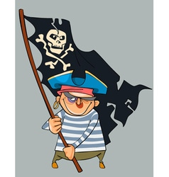 Cartoon pirate with a shiner holding a pirate flag vector
