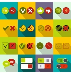 Check mark icons set flat style vector image vector image