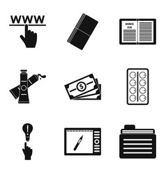 Clerical work icons set simple style vector
