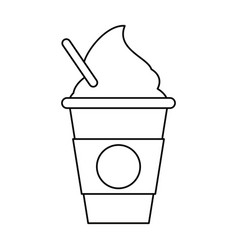 Cold coffee cup portable outline vector