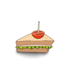 Cute hand-drawn cartoon style sandwich with shadow vector image vector image
