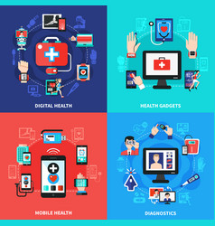 Digital health gadgets flat concept vector