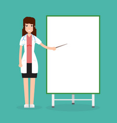 doctor female with presentation board vector image vector image