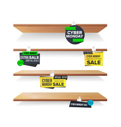 empty shelves cyber monday sale advertising vector image