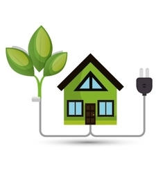 Environmental concept house tree energy vector