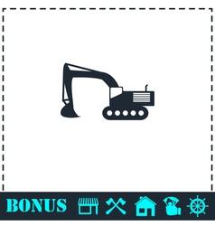 Excavator icon flat vector
