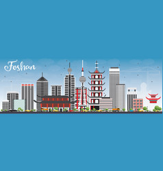 foshan skyline with gray buildings and blue sky vector image vector image