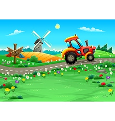 Funny landscape with tractor on the road vector