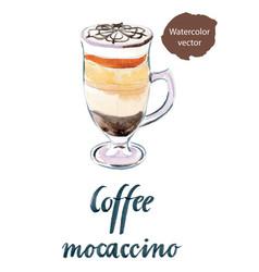 Glass of coffee mocaccino vector