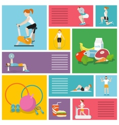 Gym exercises people vector image