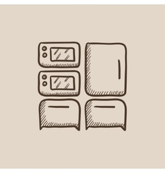 Household appliances sketch icon vector