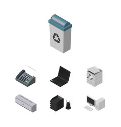 Isometric business set of scanner garbage vector