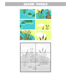 jigsaw puzzle pond duck vector image