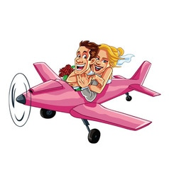 Just Married Couple Riding A Pink Plane on a Honey vector image