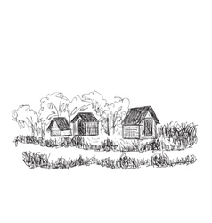 Landscape with Trees and village House vector image