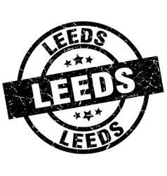 Leeds black round grunge stamp vector