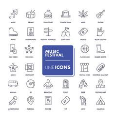 line icons set music festival vector image