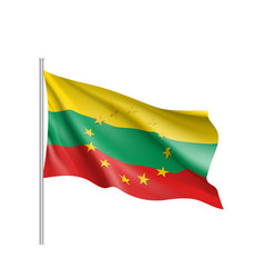 Lithuania national flag with a star circle of eu vector