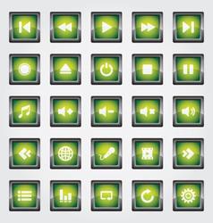 Media Button green vector image