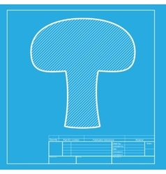 Mushroom simple sign white section of icon on vector