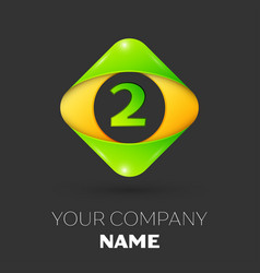 Number two logo symbol in colorful rhombus vector