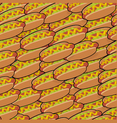pattern with isometric delicious hotdogs vector image