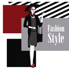 poster wo with dress and purse fashion style vector image