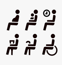 Priority seating for customers place icons vector