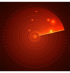 Red radar screen vector image