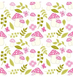 Seamless pattern with amanita flower and leaf vector