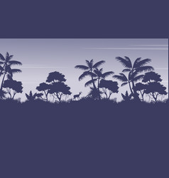 Silhouette of jungle with deer scenery vector