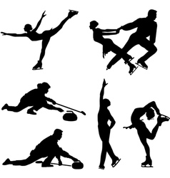 Sports on ice black icon set vector image vector image