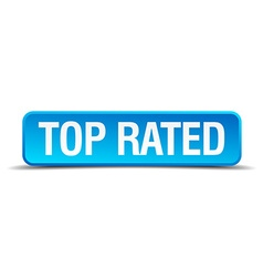 Top rated blue 3d realistic square isolated button vector