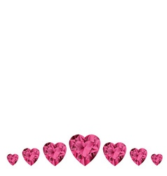 White background with ruby gemstone hearts vector