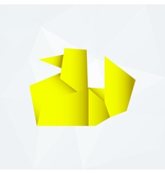 Yellow simple paper origami duck od white paper vector