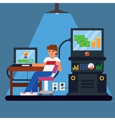 Young man with computer - money and idea appearing vector